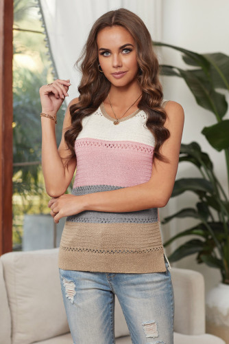 Color Block Knitted Tank Top LC256349-11