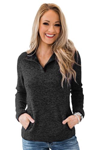 Black Heathered Turn-down Collar Pullover Sweatshirt LC2537907-2