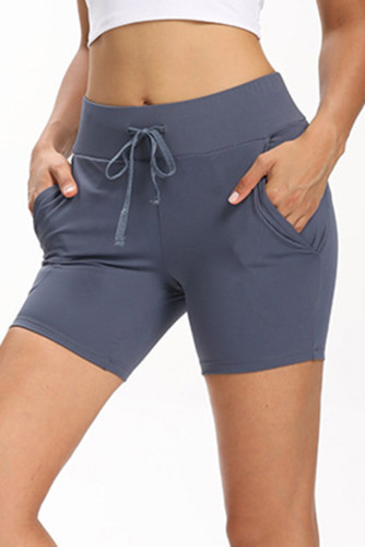 Sky Blue Tie Waist Pocket Slim-fit Yoga Shorts LC263979-4