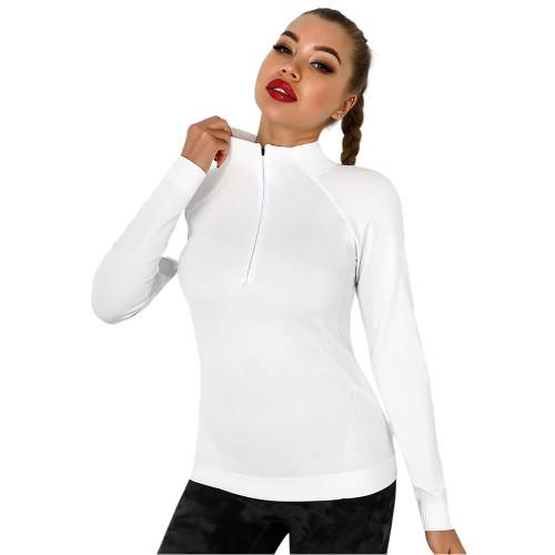 White Quick Dry Zipper Knit Tight Yoga Tops TQE91363-1
