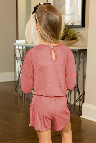 Solid Color Long Sleeve Elastic Waist Pocket Girl's Romper TZ64040-3