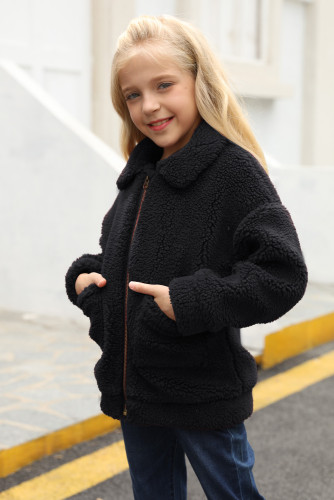 Black Lapel Zipper Pockets Girl's Sherpa Coat TZ85001-2