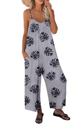 Gray Palm Leaves Print Spaghetti Strap Wide Leg jumpsuit LC642434-11
