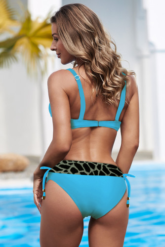 Sky Blue Wild Print Patchwork Colorblock Push up Bikini LC431137-4
