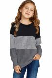 Gray Colorblock Kids Long Sleeve Top TZ25419-11