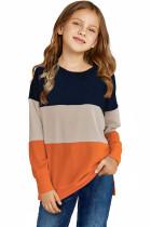 Orange Colorblock Kids Long Sleeve Top TZ25419-14