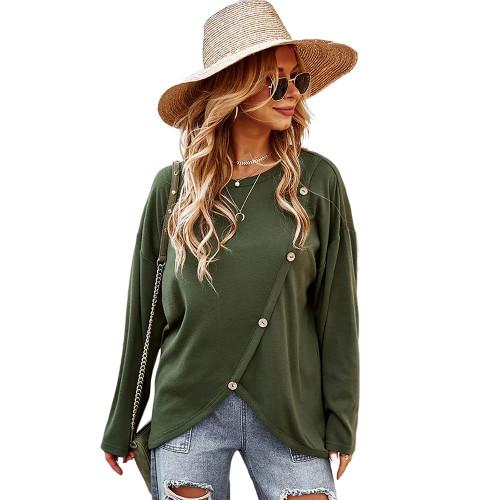 Army Green Drop Shoulder Button Detail Sweatshirt TQK230310-27