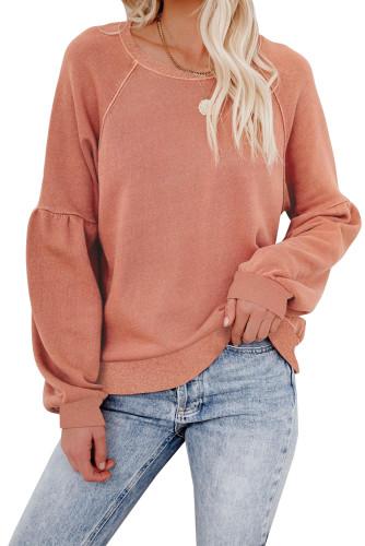 Orange Raglan Patchwork Sleeve Pullover Sweatshirt LC2537875-14
