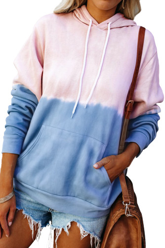 Sky Blue Dip-Dye Colorblock Drawstring Hoodie with Pockets LC2537892-4