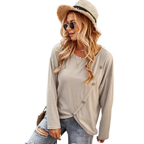 Apricot Drop Shoulder Button Detail Sweatshirt TQK230310-18