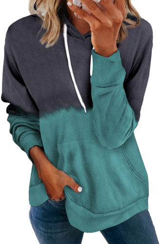 Dip-Dye Colorblock Drawstring Hoodie with Pockets LC2537892-5