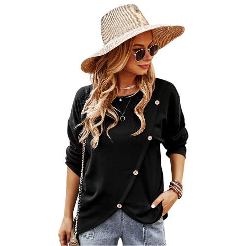 Black Drop Shoulder Button Detail Sweatshirt TQK230310-2