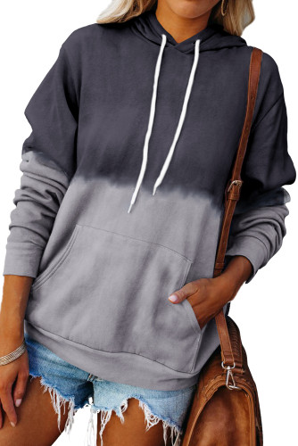 Gray Dip-Dye Colorblock Drawstring Hoodie with Pockets LC2537892-11
