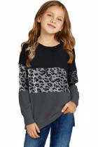 Black Leopard Print Colorblock Kids Long Sleeve Top TZ25419-2