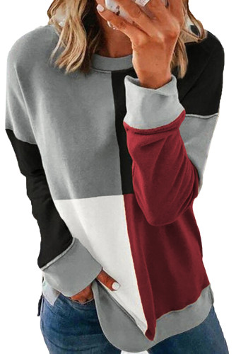 Red Color Block Round Neck Long Sleeves Pullover Sweatshirt LC2532362-3