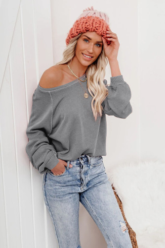 Gray Raglan Patchwork Sleeve Pullover Sweatshirt LC2537875-11