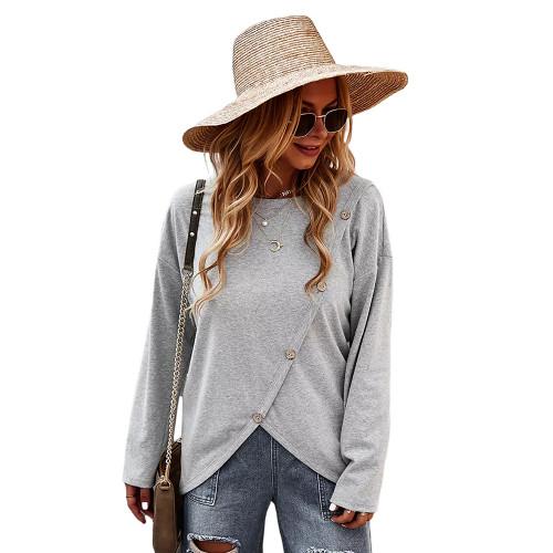 Gray Drop Shoulder Button Detail Sweatshirt TQK230310-11