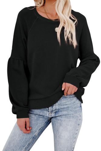 Black Raglan Patchwork Sleeve Pullover Sweatshirt LC2537875-2