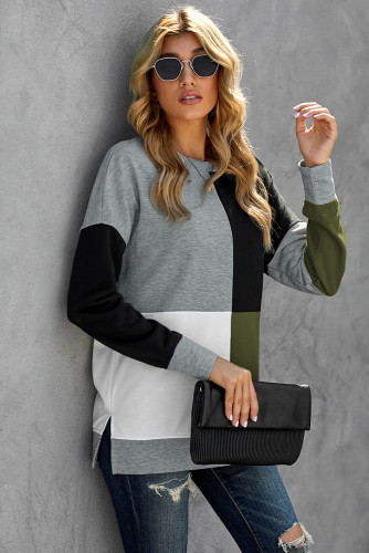 Green Color Block Round Neck Long Sleeves Pullover Sweatshirt LC2532362-9