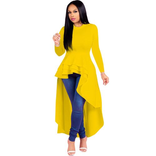 Yellow Ruffle High Low Asymmetrical Long Sleeve T-Shirt Dress TQK00168-7