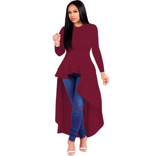 Wine Red Ruffle High Low Asymmetrical Long Sleeve T-Shirt Dress TQK00168-103