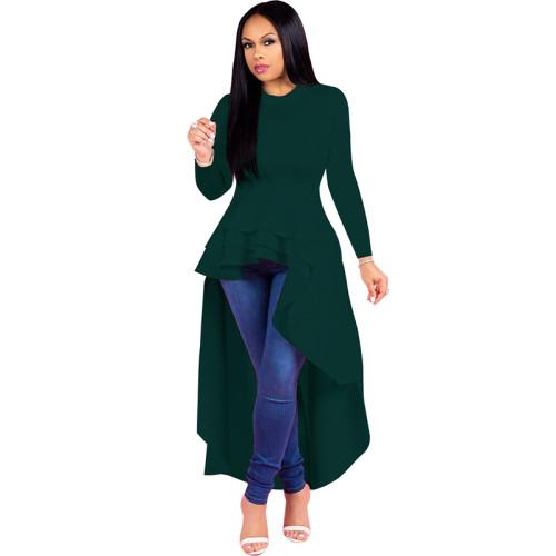 Green Ruffle High Low Asymmetrical Long Sleeve T-Shirt Dress TQK00168-9