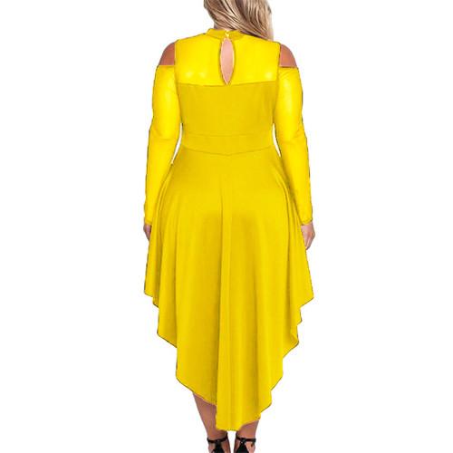 Yellow Sheer Mesh Trim Hi Lo Peplum Bodycon Dress TQD310010-7