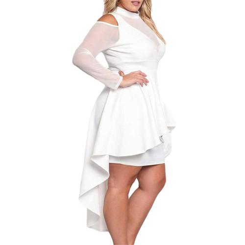 White Sheer Mesh Trim Hi Lo Peplum Bodycon Dress TQD310010-1
