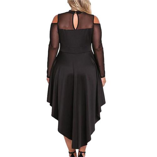 Black Sheer Mesh Trim Hi Lo Peplum Bodycon Dress TQD310010-2