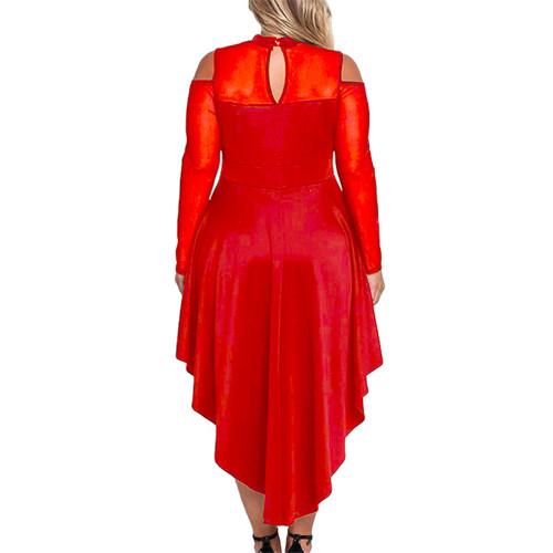 Red Sheer Mesh Trim Hi Lo Peplum Bodycon Dress TQD310010-3