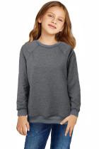 Gray Raglan Sleeve Pullover Kids Sweatshirt TZ25552-11