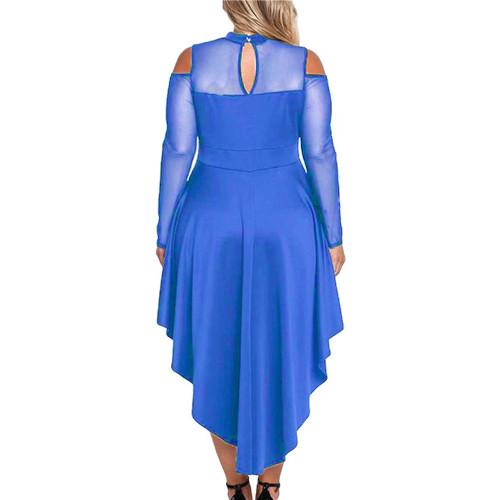 Blue Sheer Mesh Trim Hi Lo Peplum Bodycon Dress TQD310010-5