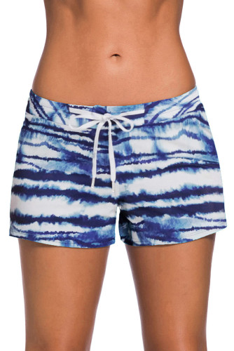 Blue Drawstring Tie-dye Swim Shorts LC472155-5