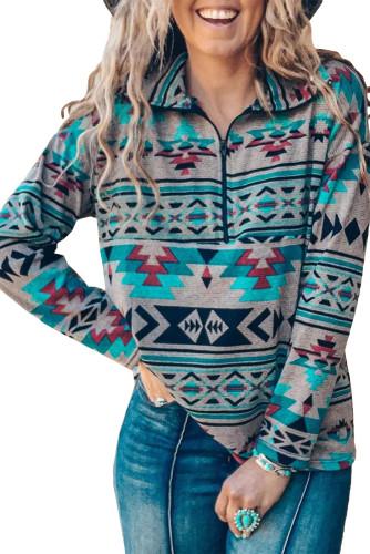 Zip Collar Aztec Pattern Sweatshirt LC2537941-9