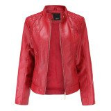 Red Classic Style Stand Collar PU Leather Jacket TQK280092-3