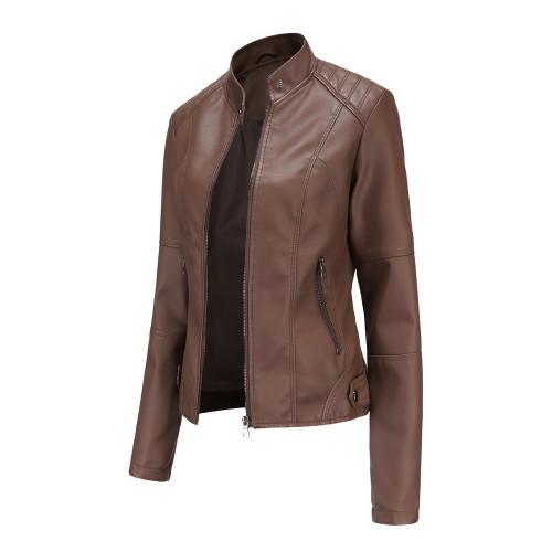 Coffee Slim Fit Stand Collar PU Motorcycle Jacket TQK280091-15