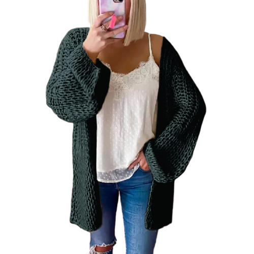 Dark Green Flared Sleeve Knitted Long Sleeve Cardigan TQK271241-36