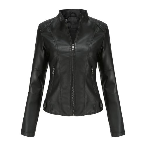 Black Slim Fit Stand Collar PU Motorcycle Jacket TQK280091-2