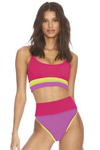 Rose Spaghetti Straps Colorblock Ribbed High Waist Bikini LC43339-6