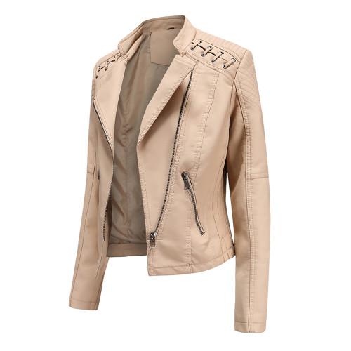 Khaki Zipper Slim Fit Motorcycle PU Leather Jacket TQK280090-21