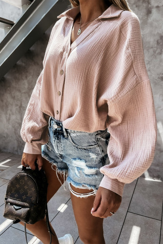 Pink Turn Collar V Neck Crinkled Cuffed Shirt LC2551423-1010