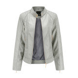 Gray Classic Style Stand Collar PU Leather Jacket TQK280092-11