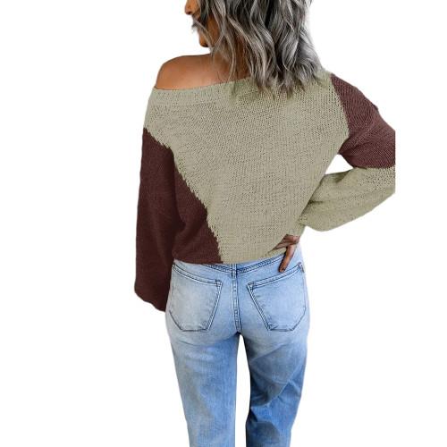Pea Green Colorblock Loose Style Pullover Sweater TQK271237-64