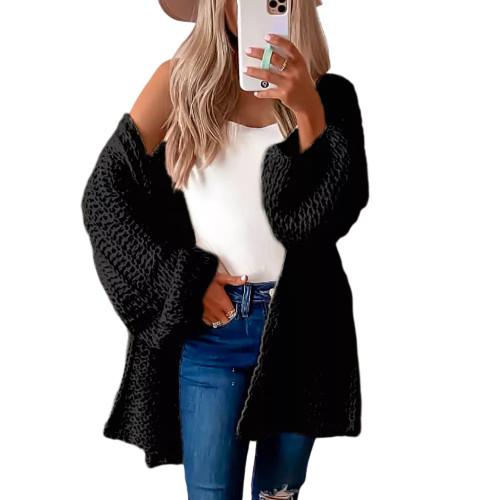 Black Flared Sleeve Knitted Long Sleeve Cardigan TQK271241-2
