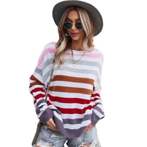 Red Multicolor Stripes Loose Style Sweater TQK271240-3