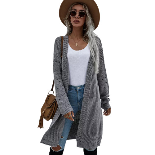 Solid Gray Open Front Knitted Long Cardigan TQK271242-11