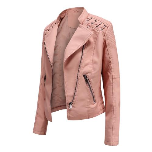 Light Pink Zipper Slim Fit Motorcycle PU Leather Jacket TQK280090-39