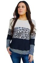 Black Stripes Leopard Splicing Colorblock Long Sleeve Top LC2518599-2