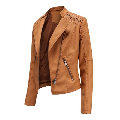 Camel Zipper Slim Fit Motorcycle PU Leather Jacket TQK280090-58