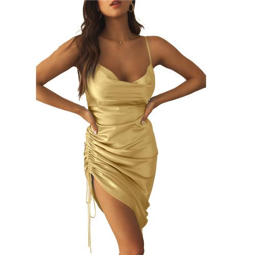 Gold Pleated Drawstring Bodycon Dress TQK310620-12